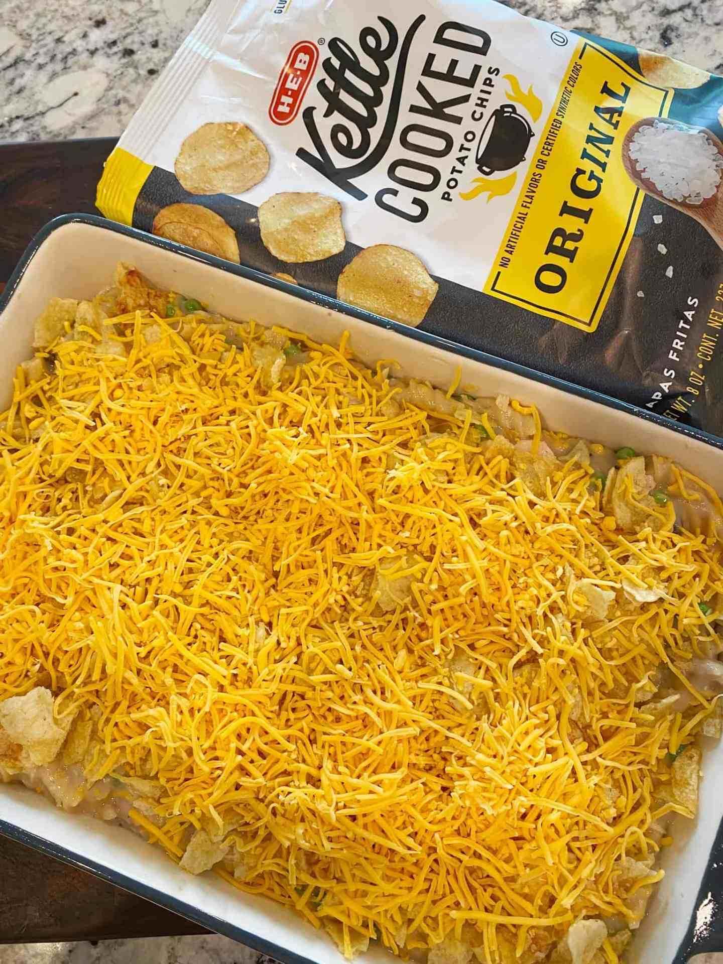 top casserole with kettle chips and more cheddar cheese