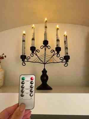 halloween candelabra black automatic pillar candles
