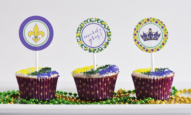 Mardi Gras Cupcake Topper Free Printables