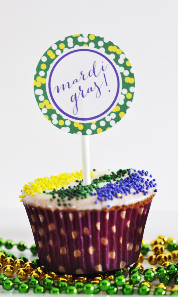 Mardi Gras Cupcake with Free Printable Cupcake Topper by Pineapple Paper Co.