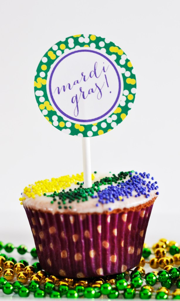 King Cake Cupcake with Mardi Gras Cupcake Topper by Pineapple Paper Co.