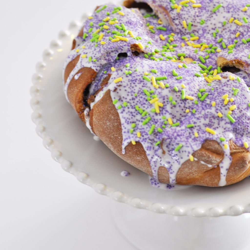Traditional Mardi Gras King Cake Easy Recipe with Cream Cheese by Pineapple Paper Co.