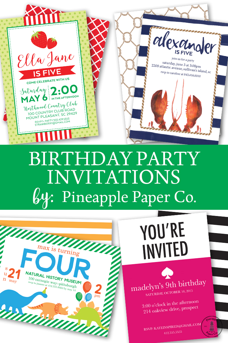 {Birthday Party} New Invitations from the Pineapple Paper Co. Shop!