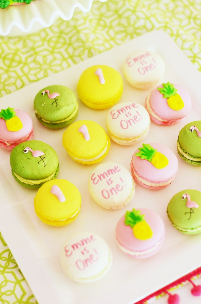 Tropical Flamingo and Pineapple Decorated French Macarons