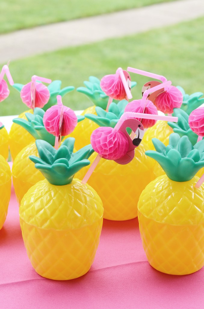 Pineapple Cups with Flamingo Straws