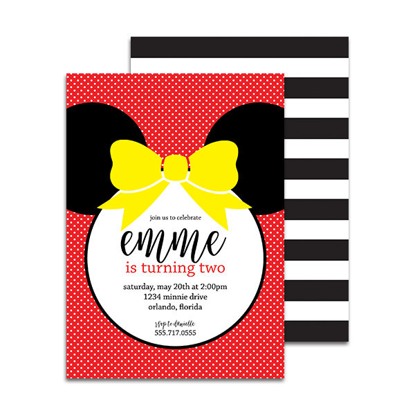 Minnie Mouse Birthday Party Personalized Invitation Pineapple