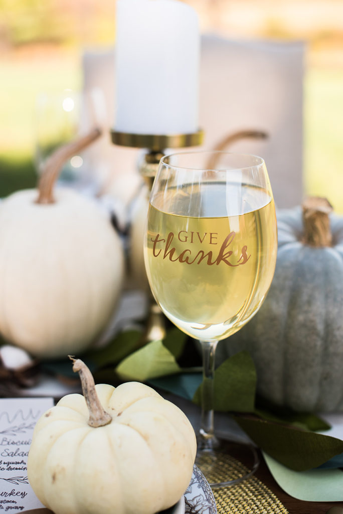 Give Thanks Wine Glasses for Rue Magazine and Cricut by Pineapple Paper Co.