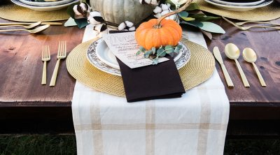 DIY Thanksgiving Dinner Table Decorations for Rue Magazine and Cricut by Pineapple Paper Co.