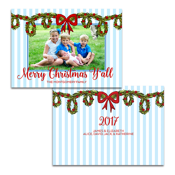 Blue and White Striped Southern Christmas Card by Pineapple Paper Co.