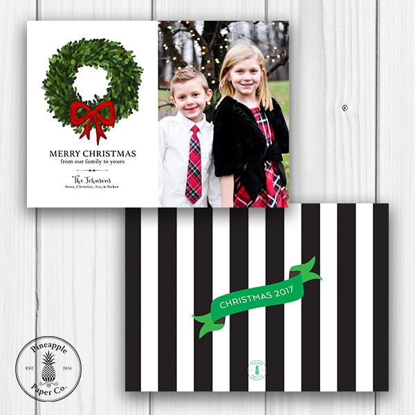 Boxwood Wreath Christmas Photo Card
