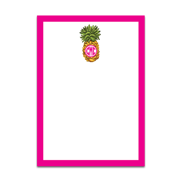 Monogrammed Pink Pineapple Notepad by Pineapple Paper Co.