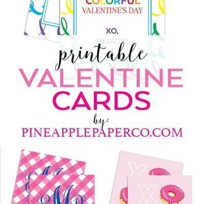 Printable Valentine Cards by Pineapple Paper Co.