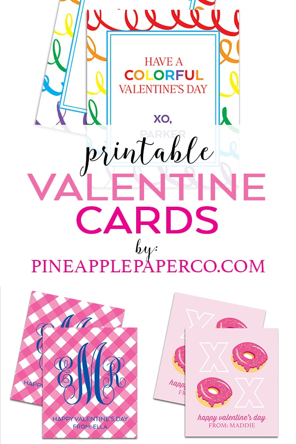 Printable Valentine Cards available for download at Pineapple Paper Co.