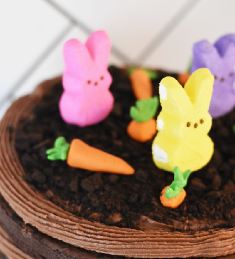 Easy DIY Easter Chocolate Cake Idea with Simple Fondant and Bunny Decorations by Pineapple Paper Co.