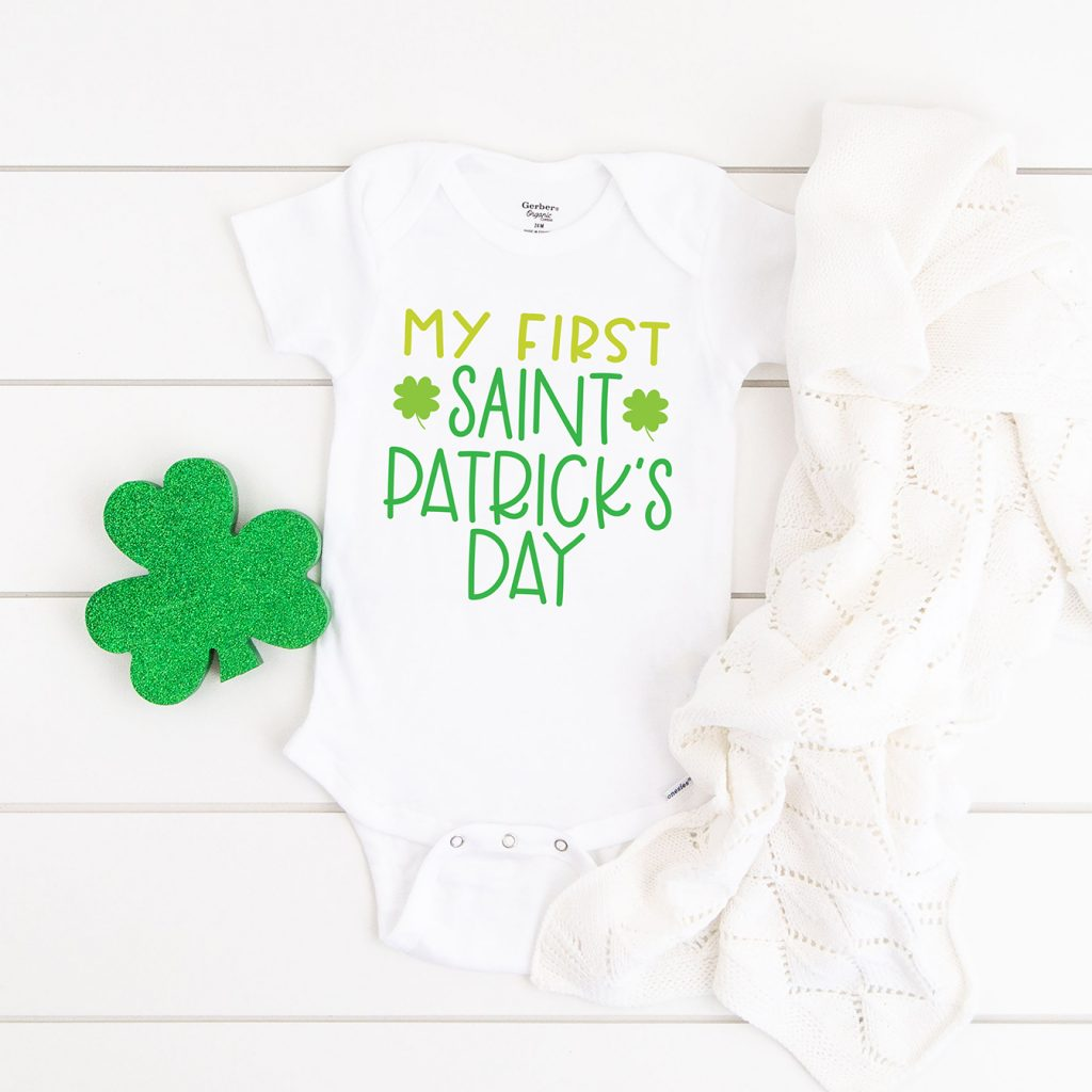 DIY Baby's My First St. Patrick's Day Onesie made with FREE SVG
