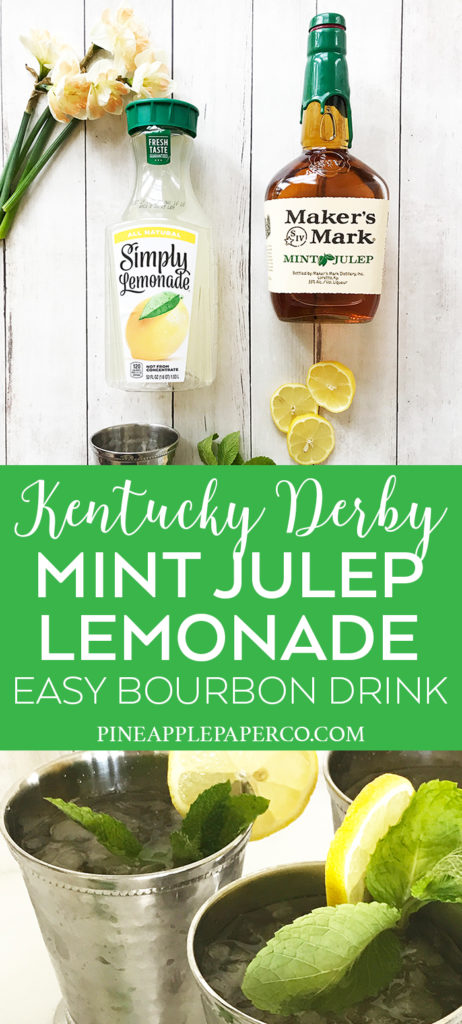 Mint Julep Lemonade Recipe Ingredients for Kentucky Derby and Summer Cocktails by Pineapple Paper Co.