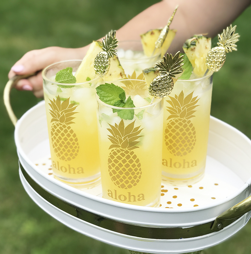 DIY Pineapple Cocktail Glasses in Tray by Pineapple Paper Co.