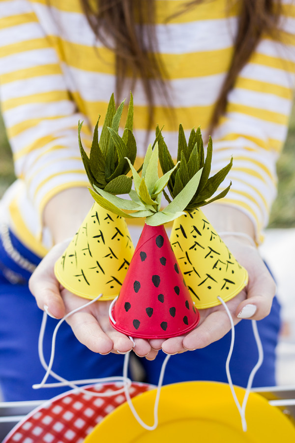 DIY Fruit Inspired Mini Party Hats by Studio DIY
