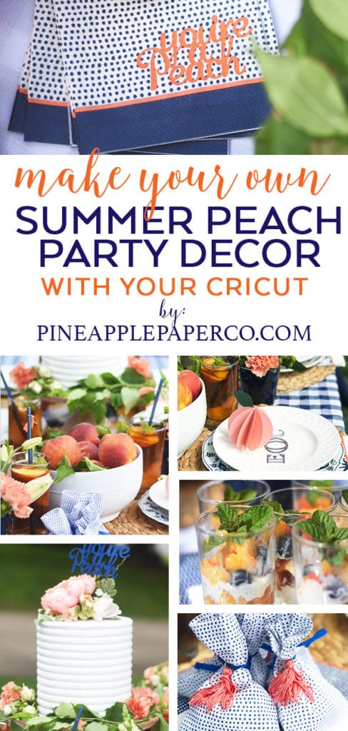 DIY Peach Summer Party Ideas with Cricut, Martha Stewart, and Michaels by Pineapple Paper Co.