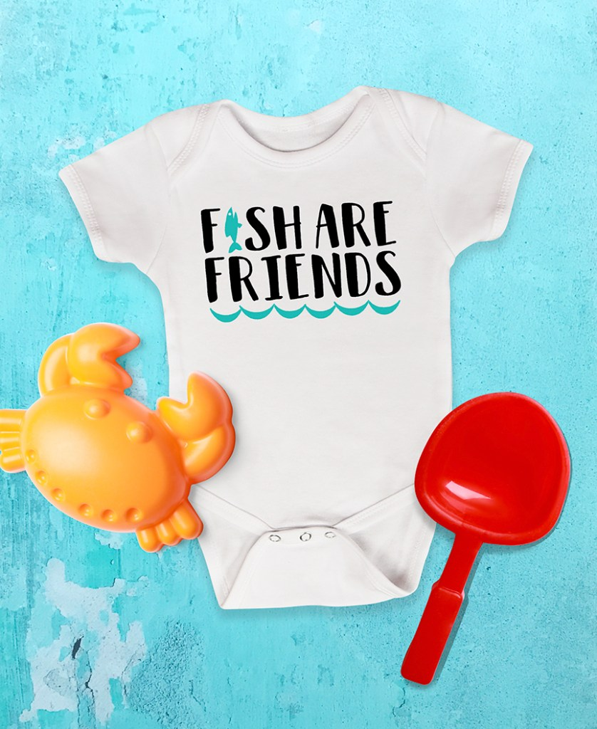 Fish Are Friends Baby Bodysuit by Pineapple Paper Co. for Cricut