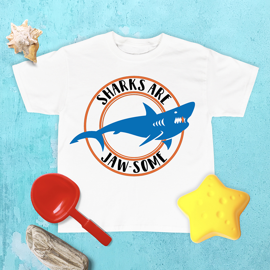 Sharks are Jaw-Some T Shirt on Ocean Background