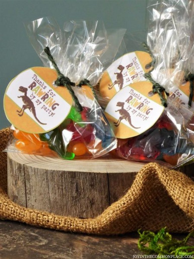 Dinosaur Party Favors on a Wooden Tray