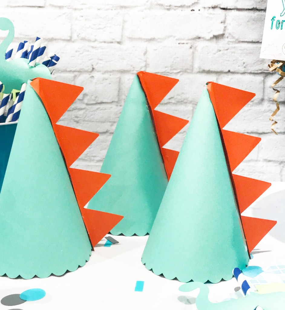Green and Orange DIY Dinosaur Party Hats