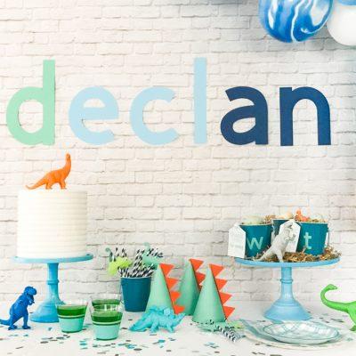 Modern Name Happy Birthday Banner – DIY Dinosaur Party Supplies