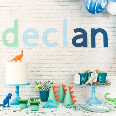 Modern Name Happy Birthday Banner – DIY Dinosaur Party Supplies