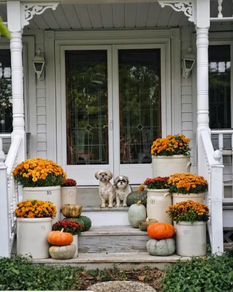 Fall Front Porch with Mum in Crocks