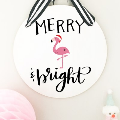 Make a DIY Christmas Merry and Bright Sign + FREE SVG