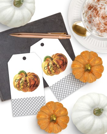 Download FREE Printable Thanksgiving Tags - Gingham Pumpkin Give Thanks Gift Tags by Pineapple Paper Co.
