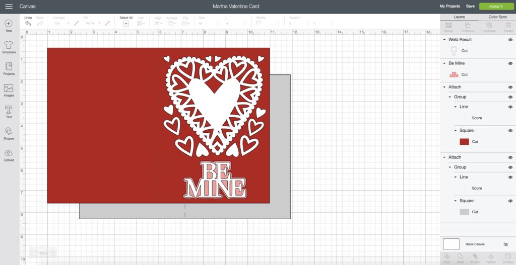 Valentine's Day Card design in Cricut Design Space