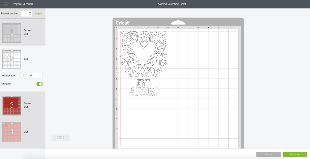 White Heart Design Mirrored in Cricut Design Space