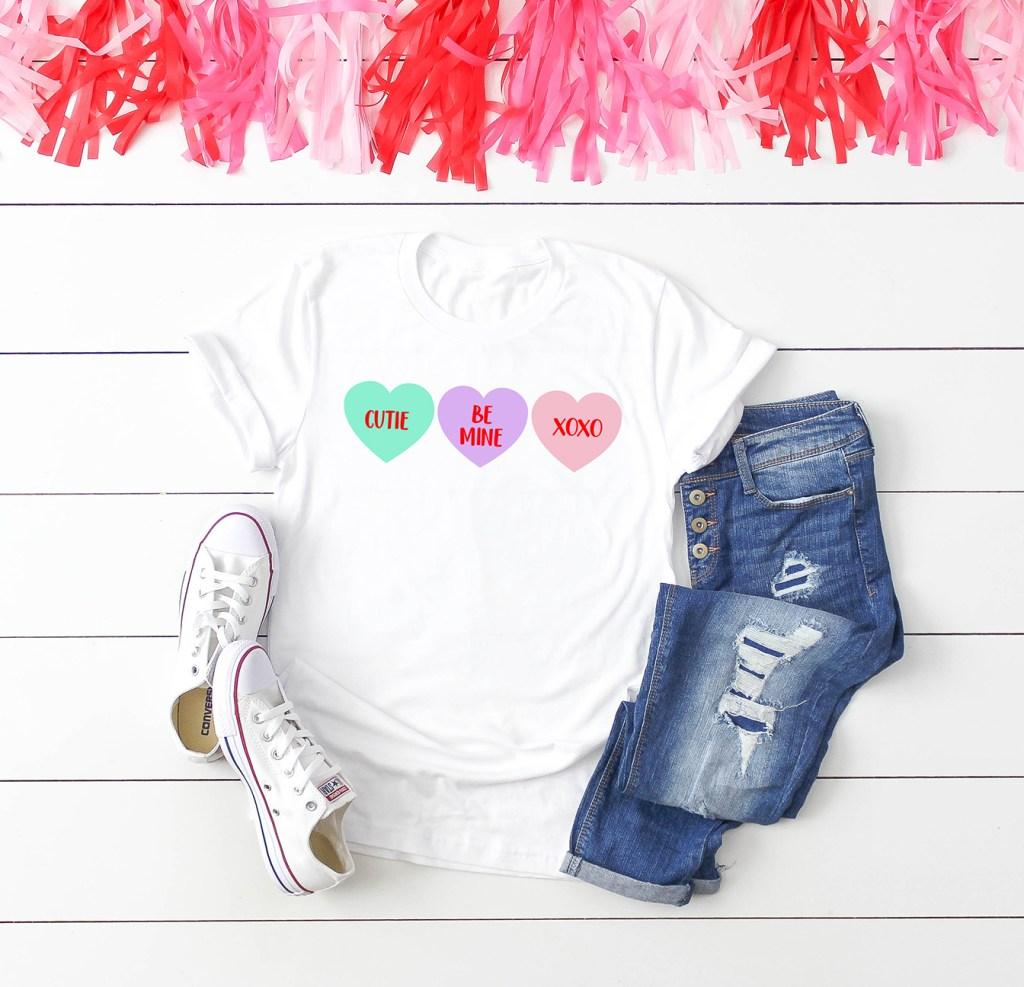 Valentine's Day Shirt with Colorful Conversation Hearts SVG by Pineapple Paper Co.