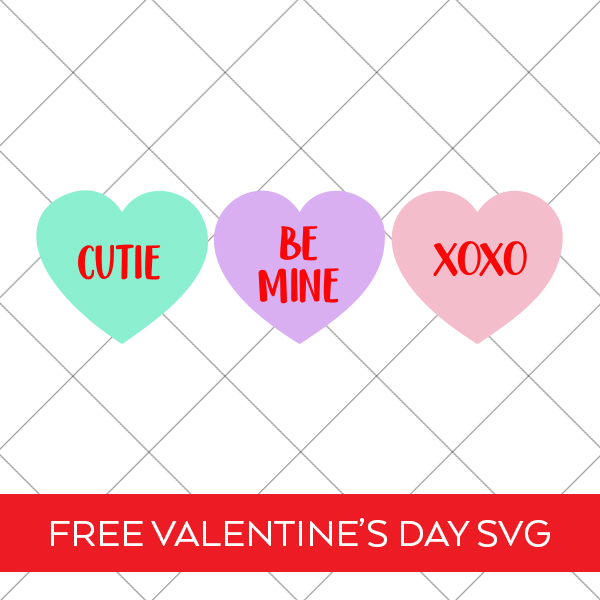 Colorful Conversation Hearts SVG on Grid Background