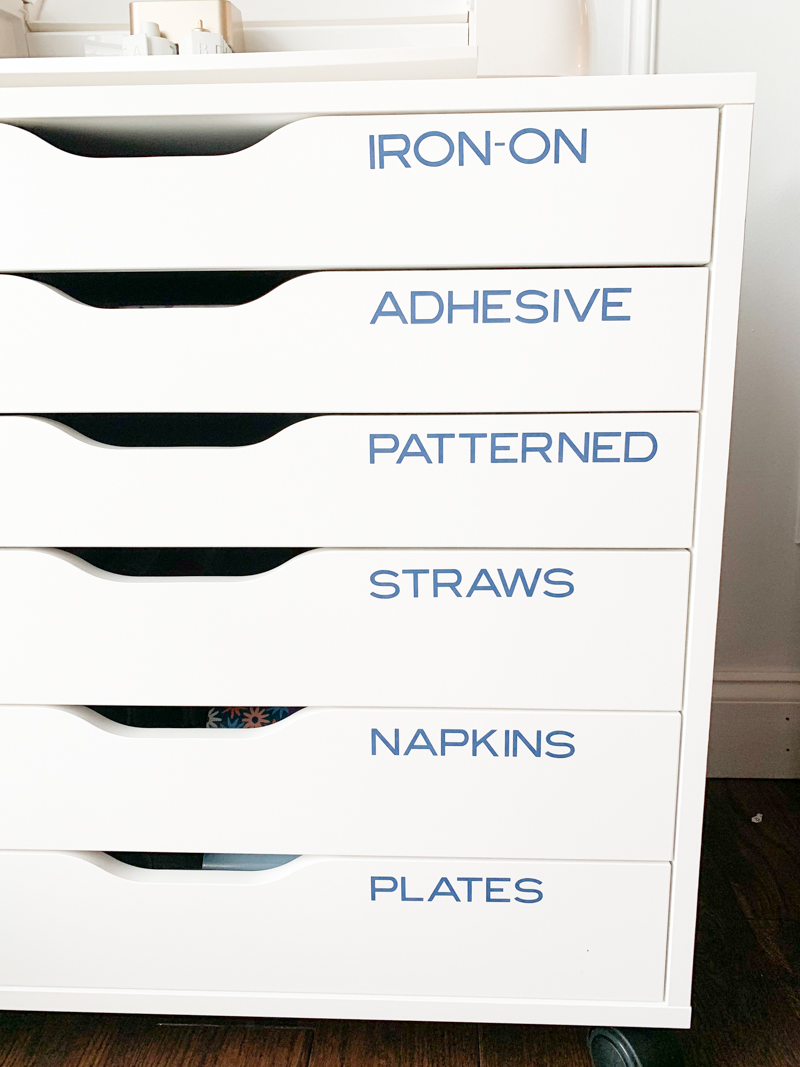 Cricut Craft Room Drawers with Vinyl Labels