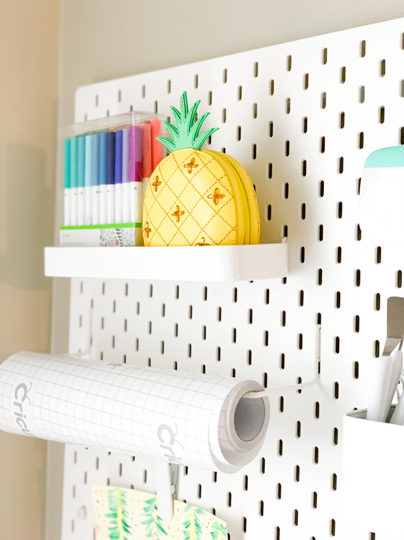 Cricut Pens and Pineapple on Ikea Pegboard - Cricut Craft Room Organization Ideas, Tips, and Tricks by Pineapple Paper Co.