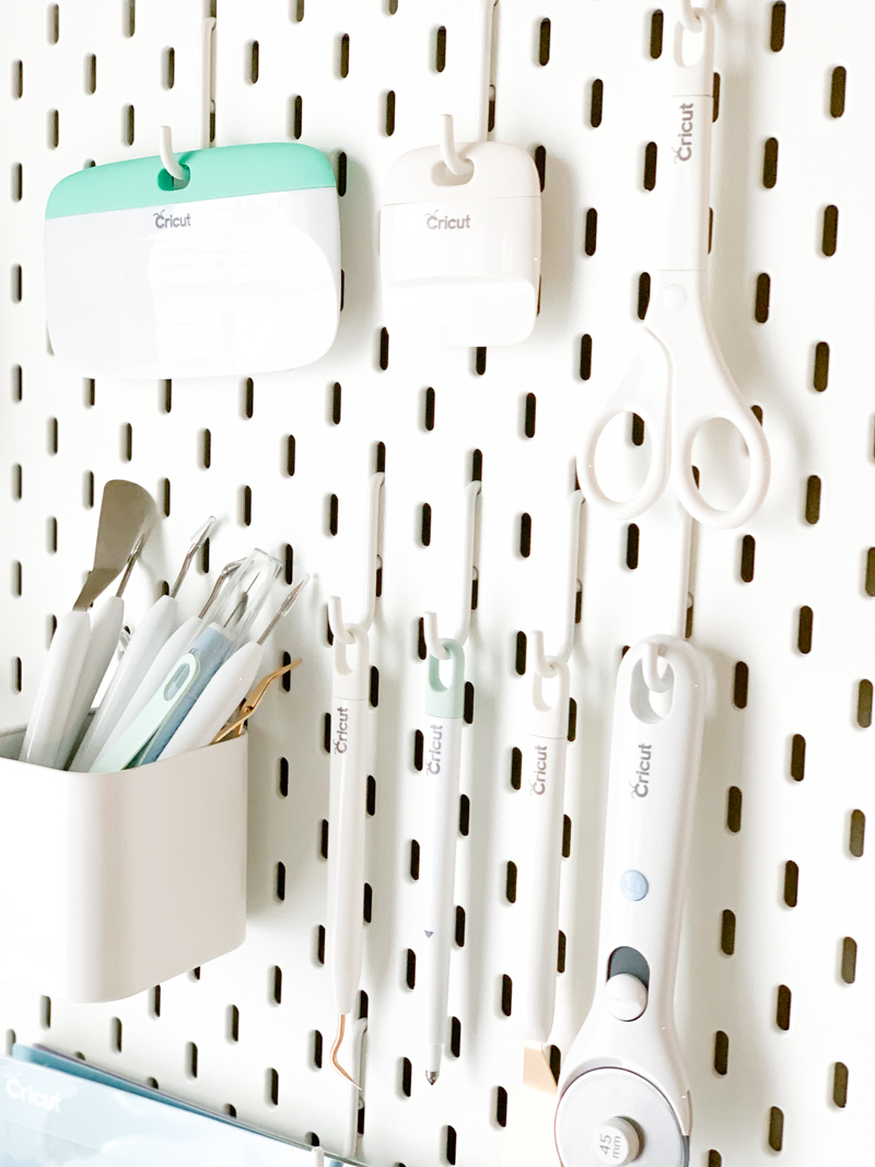 Cricut Tools on IKEA Pegboard - Cricut Craft Room Organization Ideas, Tips, and Tricks by Pineapple Paper Co.