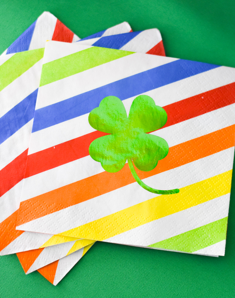Green Foil Iron On Vinyl Shamrock on Rainbow Paper Napkins by Pineapple Paper Co.