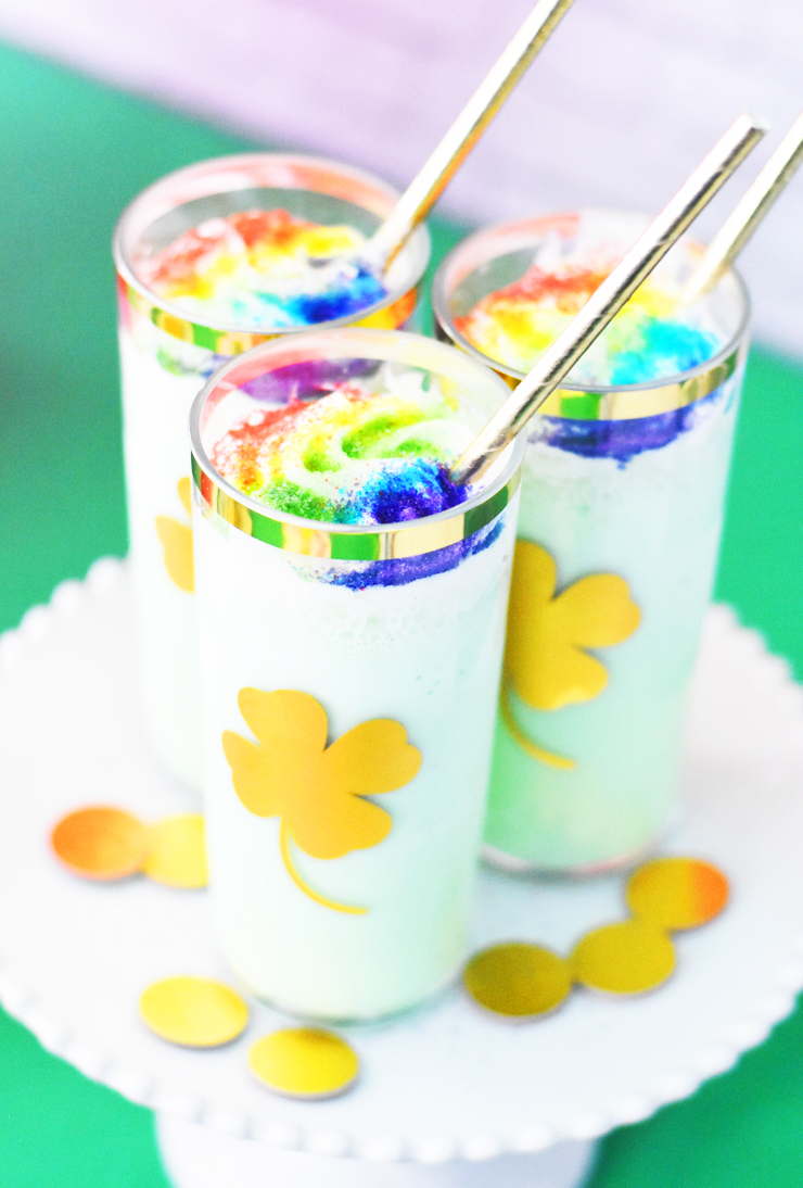Shamrock Shakes in Glasses with Gold Vinyl Shamrocks and Rainbow Sprinkles by Pineapple Paper Co.