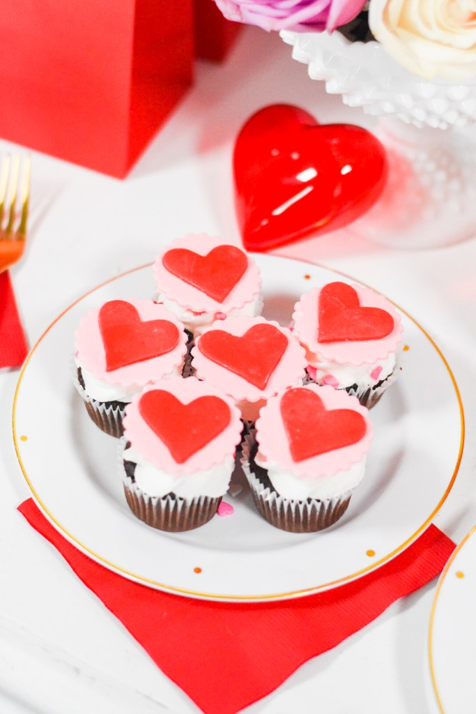 Valentine's Day Cupcakes with Red and Pink Heart Fondant Cupcake Toppers by Pineapple Paper Co.