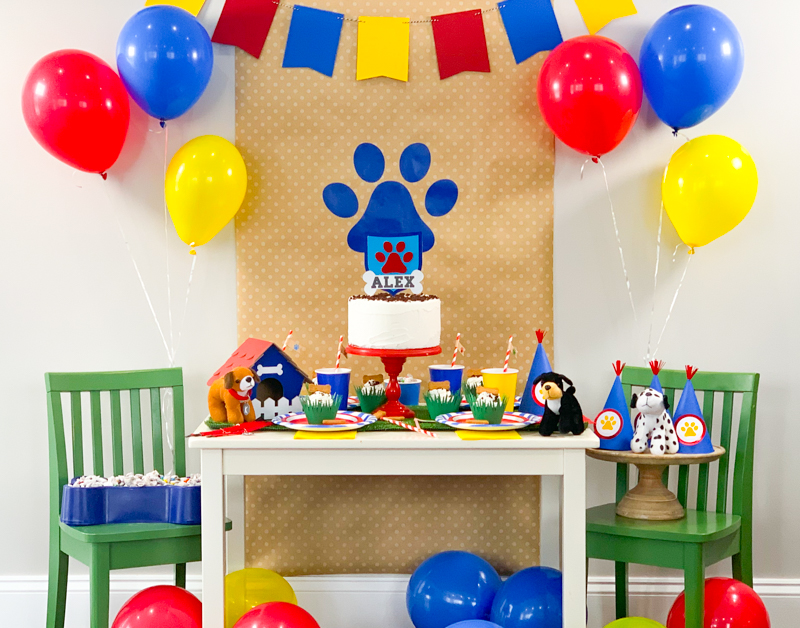 DIY Paw Patrol Party Decor made with Cricut Chipboard and Vinyl using Cricut Maker for Puppy Birthday Party Favor Pineapple Paper Co.