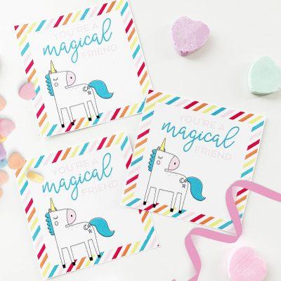 Free Unicorn Printable Valentine Cards