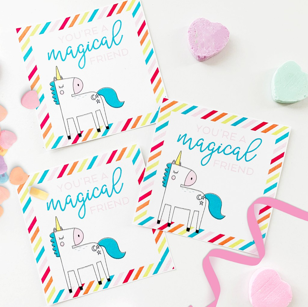 Free Unicorn Printable Valentine Cards with Rainbow Stripes designed by Pineapple Paper Co.