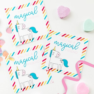 Free Unicorn Printable Valentine Cards