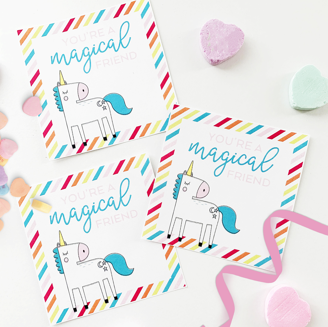 Unicorn Printable Valentine Cards