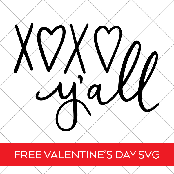 XOXO Y'all Valentine SVG File on grid background for Cricut and Silhouette Pineapple Paper Co.