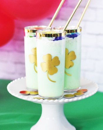 Homemade Shamrock Shake Recipe with Gold Shamrocks and Rainbow Sprinkles by Pineapple Paper Co.