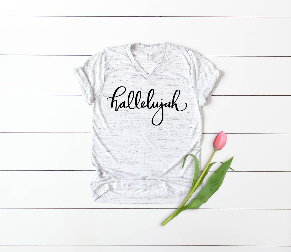 Hallelujah Religious Easter Shirt SVG Hand Lettered by Pineapple Paper Co.